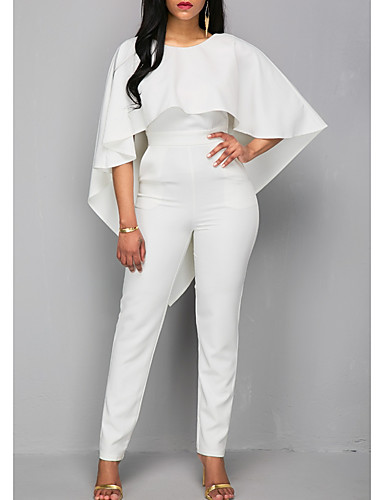 cheap Wedding Dresses-Jumpsuits Jewel Neck Ankle Length Polyester 3/4 Length Sleeve Romantic Plus Size / Modern Wedding Dresses with Ruffles 2020