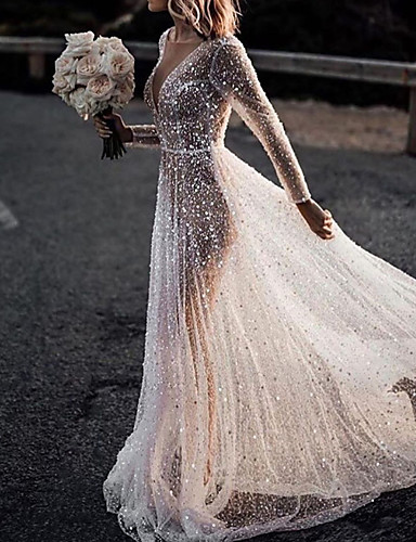 cheap Wedding Dresses-A-Line Wedding Dresses Bateau Neck Court Train Lace Tulle Polyester Long Sleeve Formal Boho Plus Size Illusion Sleeve with Lace Insert Appliques 2020