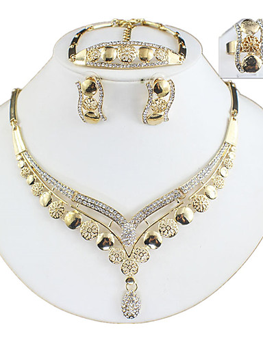cheap Jewelry Sets-Women's Gold Hoop Earrings Necklace Bracelet Classic Stylish Basic Africa Earrings Jewelry Gold For Wedding Party Engagement Four-piece Suit / Bridal Jewelry Sets / Open Ring
