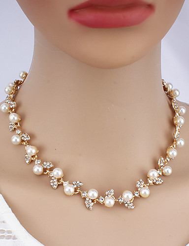 cheap Jewelry Sets-Women's Gold Chain Bracelet Hoop Earrings Necklace Classic Stylish Basic Imitation Pearl Earrings Jewelry Gold For Wedding Party Engagement Three-piece Suit / Bridal Jewelry Sets