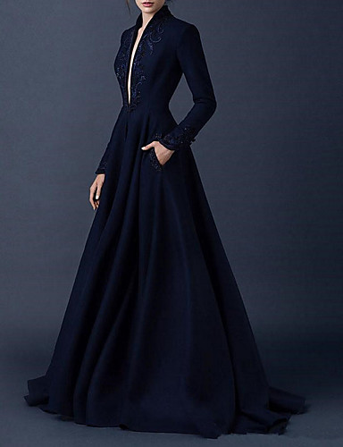 cheap Wedding Dresses-A-Line V Neck Sweep / Brush Train Satin Long Sleeve Formal Plus Size / Black Wedding Dresses with Draping 2020