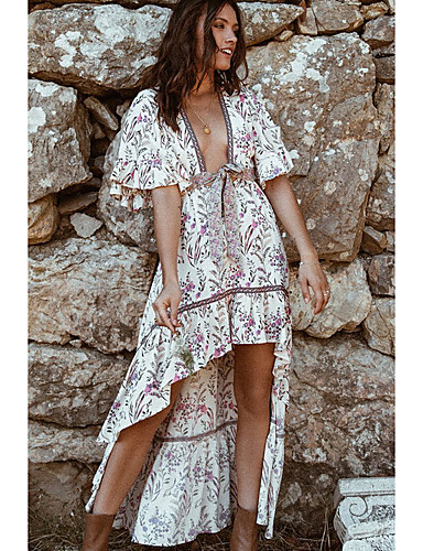Χαμηλού Κόστους Για νεαρές γυναίκες-Γυναικεία Φόρεμα σε γραμμή Α Μισό μανίκι Φλοράλ Λαιμόκοψη V Ρουμπίνι Τ M L XL / Ασύμμετρο