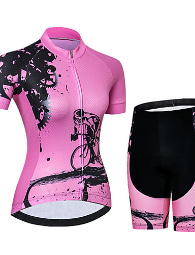 cheap Cycling Jersey & Shorts / Pants Sets-21Grams Women's Short Sleeve Cycling Jersey with Shorts Spandex Polyester Pink / Black Gear Bike Clothing Suit Breathable Quick Dry Ultraviolet Resistant Sweat-wicking Sports Graphic Mountain Bike