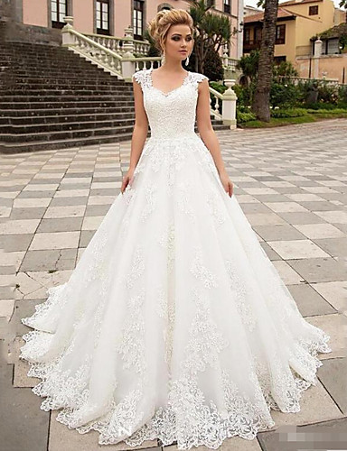 cheap Wedding Dresses-A-Line Wedding Dresses V Neck Sweep / Brush Train Lace Tulle Strapless Country with 2020