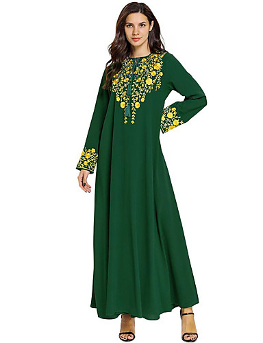 cheap Ethnic & Cultural Costumes-Adults' Women's A-Line Slip Abaya Dress Muslim Dress Maxi Dresses For Party Cotton Polyster Embroidered Halloween Carnival Masquerade Dress