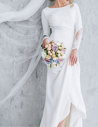 cheap Wedding Dresses-A-Line Jewel Neck Court Train Polyester Long Sleeve Formal Plus Size Wedding Dresses with Draping 2020