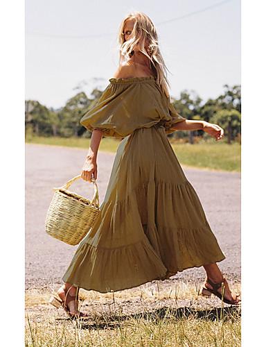 Χαμηλού Κόστους Για νεαρές γυναίκες-Γυναικεία Swing Φόρεμα - Μονόχρωμο Μακρύ Ώμοι Έξω