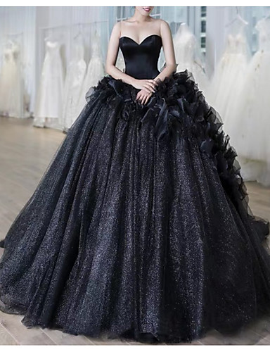 cheap Wedding Dresses in Colors-Ball Gown Sweetheart Neckline Court Train Lace Strapless Formal Black / Modern Wedding Dresses with Draping / Lace Insert 2020