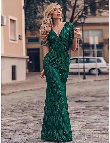cheap Special Occasion Dresses-Mermaid / Trumpet Sparkle Green Engagement Formal Evening Dress V Neck Short Sleeve Floor Length Tulle with Sequin 2020
