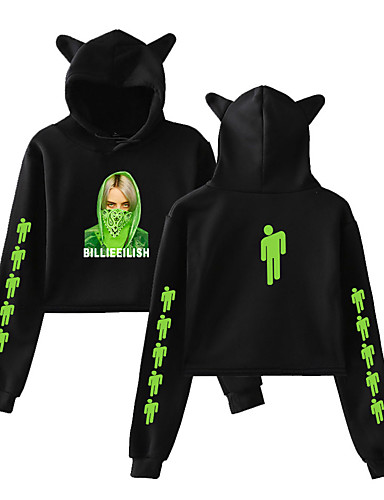 cheap Everyday Cosplay Anime Hoodies & T-Shirts-Inspired by Cosplay Billie Eilish Cosplay Costume Hoodie Cotton Fibre Print Printing Hoodie For Women's