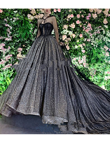 cheap Wedding Dresses in Colors-Ball Gown V Neck Court Train Lace / Tulle Long Sleeve Formal Black Wedding Dresses with Draping / Lace Insert 2020