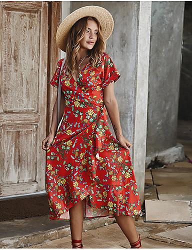 Χαμηλού Κόστους Για νεαρές γυναίκες-Γυναικεία Φόρεμα ριχτό από τη μέση και κάτω Κοντομάνικο Γεωμετρικό Λαιμόκοψη V Κομψό Λεπτό Ρουμπίνι Κίτρινο Μπλε Απαλό Τ M L XL
