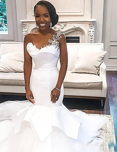 cheap Wedding Dresses-Mermaid / Trumpet One Shoulder Ankle Length Lace Regular Straps Country / Formal / Casual Wedding Dresses with 2020