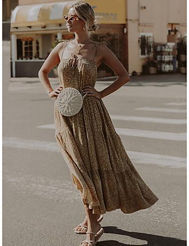preiswerte Für Junge Frauen-Damen Swing Kleid Ärmellos Leopard-Druck Frühling Sommer Gurt 2020 Khaki M L XL XXL / Maxi