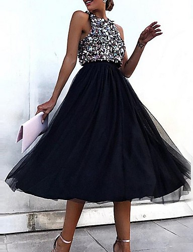 cheap Clearance-Back To School A-Line Color Block Party Wear Wedding Guest Cocktail Party Dress Jewel Neck Sleeveless Tea Length Polyester with Sequin 2020 Hoco Dress