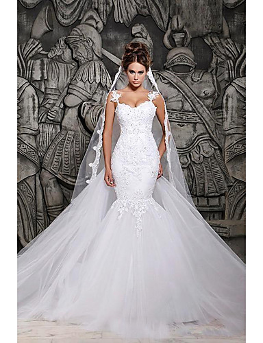 cheap Wedding Dresses-Mermaid / Trumpet Wedding Dresses Strapless Court Train Lace Spaghetti Strap Country Formal Casual with 2020