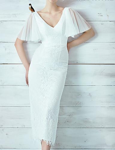 cheap Wedding Dresses-Sheath / Column V Neck Ankle Length Lace / Tulle Short Sleeve Formal Plus Size Wedding Dresses with Lace Insert / Appliques 2020