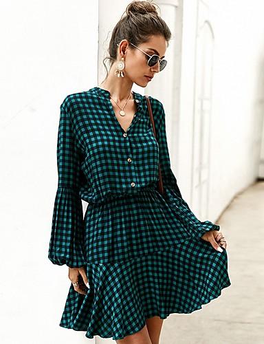 abordables Pour Les Jeunes Femmes-Femme Robe Trapèze Manches Longues Ecossais à Carreaux Col en V Rouge Jaune Vert S M L XL