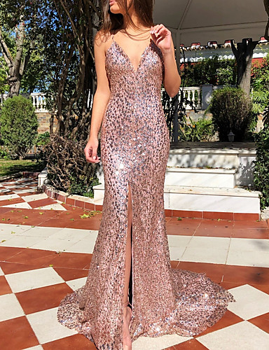 cheap Clearance-Mermaid / Trumpet Sparkle Wedding Guest Engagement Prom Dress Spaghetti Strap Sleeveless Sweep / Brush Train Polyester with Sequin 2020