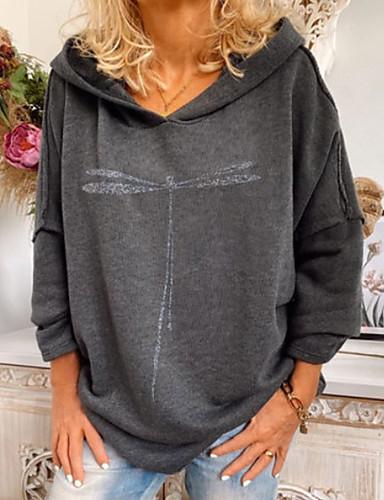 cheap Sweaters & Cardigans-Women's Pullover Hoodie Sweatshirt Solid Colored Basic Hoodies Sweatshirts  Oversized Gray