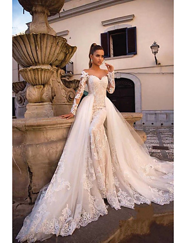 cheap Wedding Dresses-Ball Gown Mermaid / Trumpet Wedding Dresses Sweetheart Neckline Court Train Lace Tulle Lace Over Satin Long Sleeve Sexy Plus Size Modern Detachable with Appliques 2020
