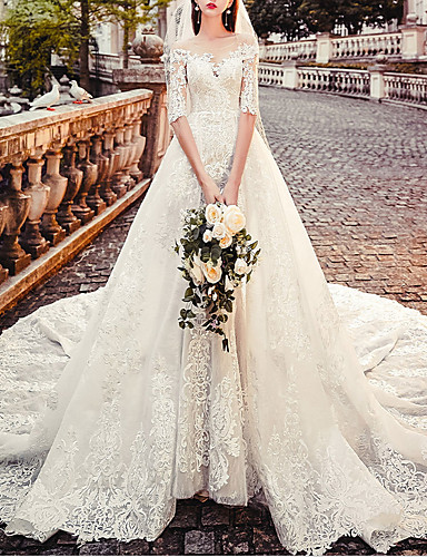 cheap Wedding Dresses-A-Line Jewel Neck Court Train Lace Half Sleeve Country Modern / Illusion Sleeve Wedding Dresses with Beading / Lace Insert / Appliques 2020