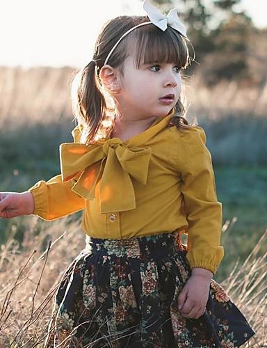 cheap Pre Sale-Baby Girls' Basic Floral Long Sleeve Regular Clothing Set Yellow