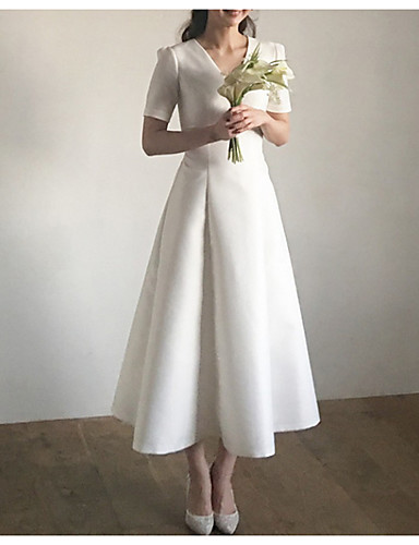cheap Wedding Dresses-A-Line V Neck Sweep / Brush Train Satin Short Sleeve / Cap Sleeve Formal / Simple / Vintage Plus Size / 1950s Wedding Dresses with Draping 2020