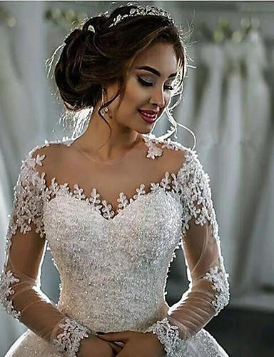 cheap Wedding Dresses-A-Line High Neck Court Train Lace Long Sleeve Country / Glamorous Backless / Illusion Sleeve Wedding Dresses with 2020 / Bishop Sleeve
