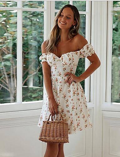 Χαμηλού Κόστους Για νεαρές γυναίκες-Γυναικεία Θήκη Φόρεμα - Κοντομάνικο Γεωμετρικό Ώμοι Έξω Λεπτό Λευκό Τ M L XL
