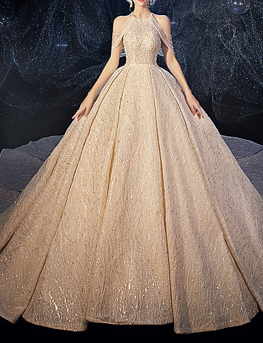 cheap Wedding Dresses-Ball Gown Halter Neck Watteau Train Lace / Tulle / Sequined Spaghetti Strap Formal Plus Size Wedding Dresses with Crystals / Lace Insert / Embroidery 2020
