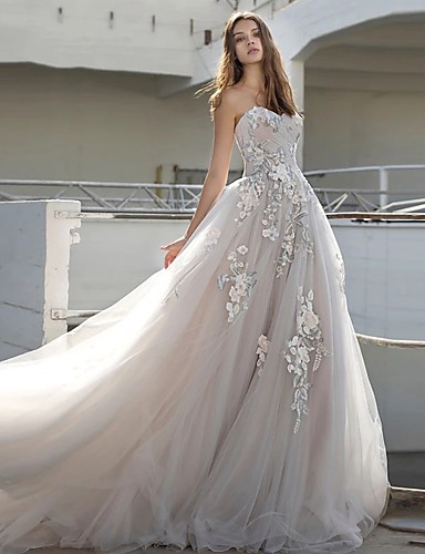 cheap Wedding Dresses-Ball Gown Strapless Court Train Lace / Tulle Strapless Sexy Plus Size Wedding Dresses with Appliques 2020