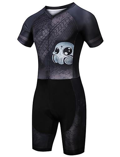 cheap Cycling-21Grams Men's Short Sleeve Triathlon Tri Suit Summer Spandex Polyester Black Sugar Skull Skull Bike Clothing Suit UV Resistant Quick Dry Breathable Sweat wicking Sports Sugar Skull Mountain Bike MTB