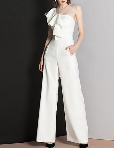 cheap Wedding Dresses-Jumpsuits One Shoulder Floor Length Polyester Cap Sleeve Romantic Modern Wedding Dresses with Ruffles 2020