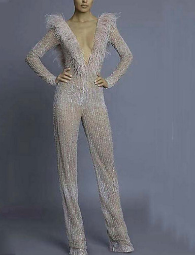 cheap Clearance-Jumpsuits Sparkle Holiday Formal Evening Dress V Neck Long Sleeve Floor Length Polyester with Sequin 2020