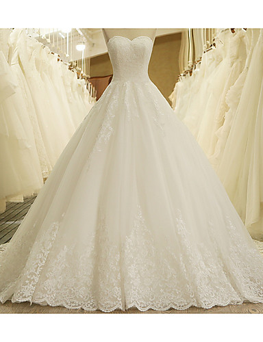 cheap Wedding Dresses-A-Line Strapless Court Train Lace Strapless Formal Plus Size Wedding Dresses with Lace Insert 2020