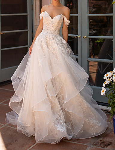 cheap Wedding Dresses-A-Line Strapless Court Train Polyester Short Sleeve Formal Illusion Detail Wedding Dresses with Lace Insert / Appliques 2020
