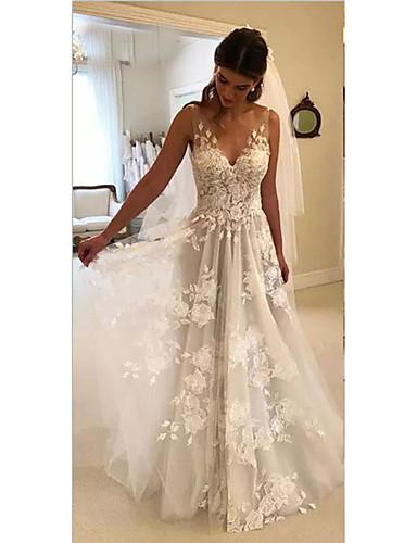 preiswerte Hochzeitskleider-A-Linie Hochzeitskleider V-Ausschnitt Hof Schleppe Spitze Reguläre Träger Formal Bequem Strand mit 2020
