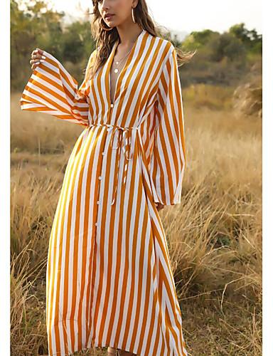 Χαμηλού Κόστους Για νεαρές γυναίκες-Γυναικεία Φαρδιά Μακρύ φόρεμα - Μακρυμάνικο Ριγέ Βαθύ V Βαμβάκι Μαύρο Ρουμπίνι Κίτρινο Ανθισμένο Ροζ Τ M L XL
