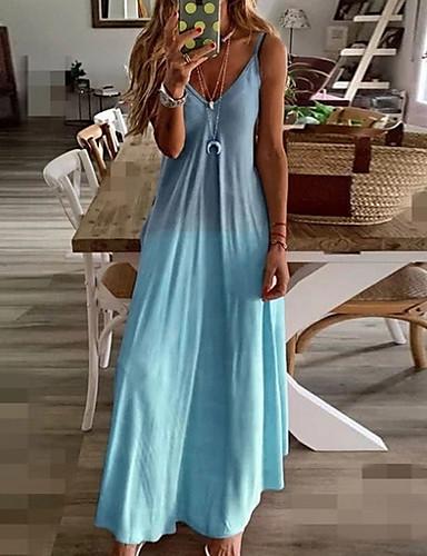billige Smukke kjoler-Dame Plusstørrelser Stroppekjole Maxi Kjole - Uden ærmer Farvegradient Sommer Ferie Strand 2020 Blå Gul Lyserød Grå S M L XL XXL XXXL XXXXL XXXXXL