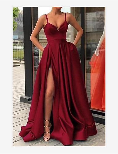 cheap Wedding Dresses-A-Line V Neck Sweep / Brush Train Jersey Sexy / Red Formal Evening / Quinceanera Dress with Split Front / Pleats 2020