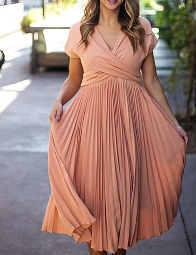 cheap Mother of the Bride Dresses-A-Line Mother of the Bride Dress Elegant V Neck Ankle Length Chiffon Short Sleeve with Sash / Ribbon Tier Ruching 2020 Mother of the groom dresses