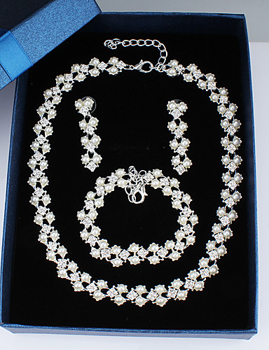cheap Jewelry Sets-Women's Chain Bracelet Hoop Earrings Necklace Classic Stylish Basic Elegant Earrings Jewelry Silver For Wedding Party Engagement Three-piece Suit / Bridal Jewelry Sets