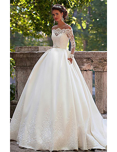 cheap Wedding Dresses-A-Line Off Shoulder Court Train Lace Long Sleeve Country Illusion Sleeve Wedding Dresses with 2020