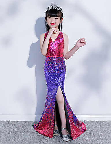 Mermaid / Trumpet Court Train Wedding / Party Pageant Dresses - Sequined Sleeveless Halter Neck / V Neck with Paillette