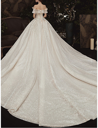 cheap Wedding Dresses-Ball Gown Off Shoulder Watteau Train Lace Cap Sleeve Formal / Romantic Wedding Dress in Color Wedding Dresses with Ruched 2020