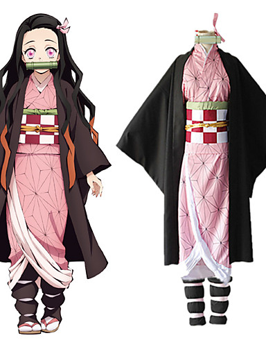 cheap Anime Costumes-Inspired by Demon Slayer: Kimetsu no Yaiba Kamado Nezuko Anime Cosplay Costumes Japanese Cosplay Suits Coat Underwear Kneepad For Women's / Rope / Sash / Ribbon