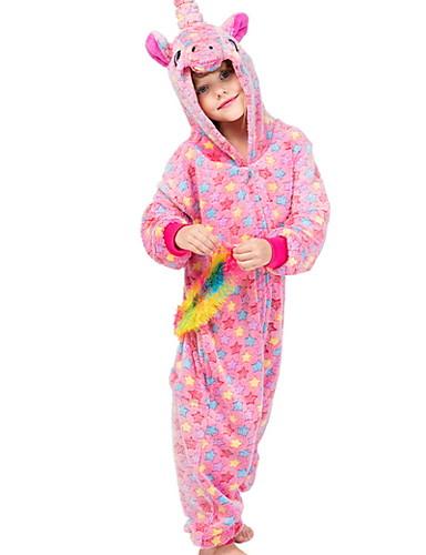 baratos Engrenagem do bebê-Infantil Para Meninas Pijamas Fantasias Feriado Festival Unicorn Animal Desenho Animado Roupa de Dormir Rosa