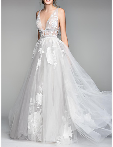 cheap Wedding Dresses-A-Line V Neck Floor Length Tulle Sleeveless Casual Plus Size Wedding Dresses with Draping 2020