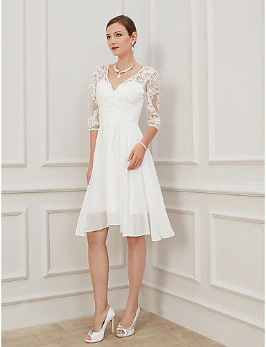 cheap Wedding Dresses-A-Line Wedding Dresses V Neck Knee Length Chiffon Lace Half Sleeve Formal Plus Size Illusion Sleeve with Draping Appliques 2020